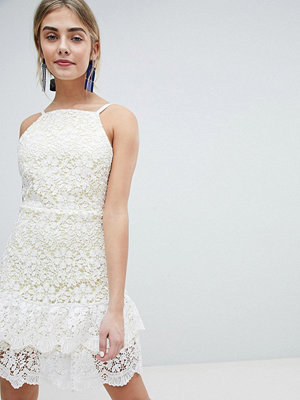 Dolly & Delicious All Over Cutwork Lace Skater Dress With Peplum Hem - White base/yellow un