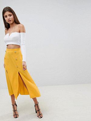 ASOS DESIGN double breasted thigh split midi skirt