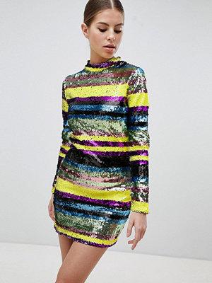 Club L Long Sleeve Rainbow Sequin Mini Bodycon Dress