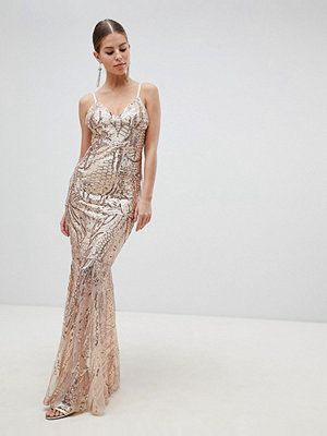 Club L Fully Embellished Sequin Cami Strap Fishtail Maxi Dress - Pink