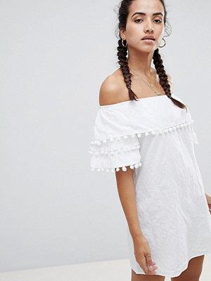 PrettyLittleThing Pom Trim Bardot Dress