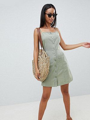 Asos Tall ASOS DESIGN Tall button through linen mini sundress - Khaki