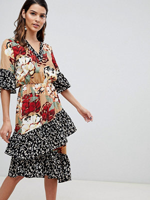 Y.a.s Mix Print Tiered Ruffle Dress