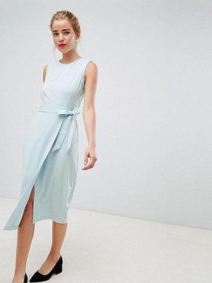 Closet London tie v-back pencil dress in sky blue - Sky blue