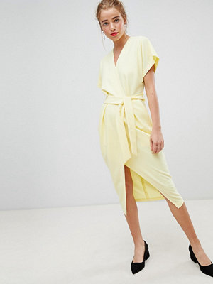 Closet London short sleeve tie front dress in lemon yellow - Lemon