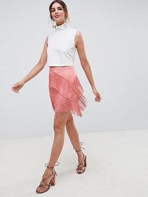 ASOS DESIGN fringe mini skirt - Rose pink