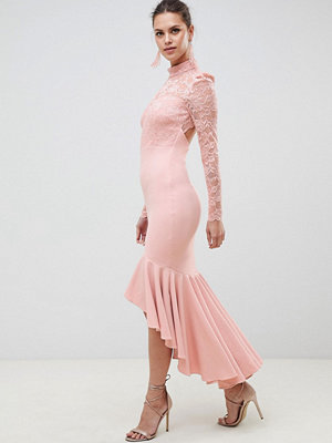 City Goddess Long Sleeve High Neck Fishtail Maxi Dress With Lace Detail - Blush pink
