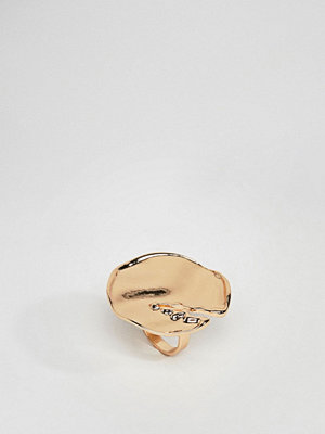 ASOS DESIGN statement ring with abstract hammered detail