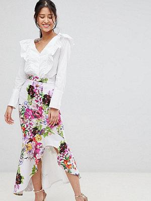True Violet hi-low frill skirt in print - Multi floral