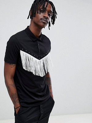 ASOS DESIGN polo shirt with western fringing