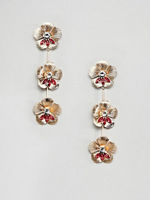 ASOS örhängen DESIGN earrings in floral drop design with crystals