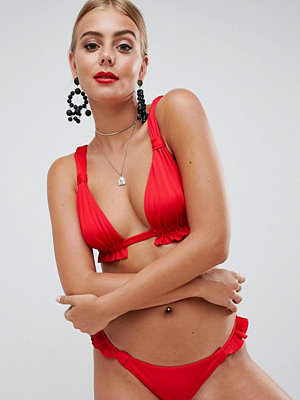 ASOS DESIGN tab detail frill triangle bikini top in red - Venere red