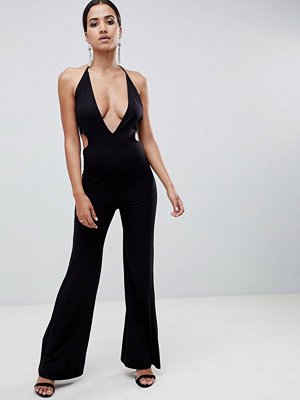 ASOS DESIGN jumpsuit with flare leg and cut out detail