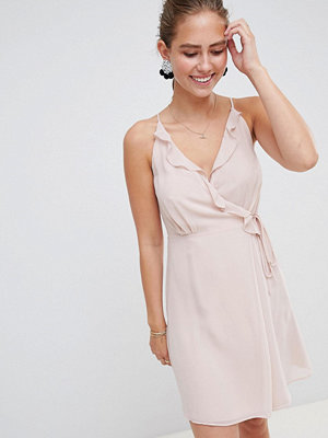 Miss Selfridge dress with frill wrap front and tie side detail - Nude