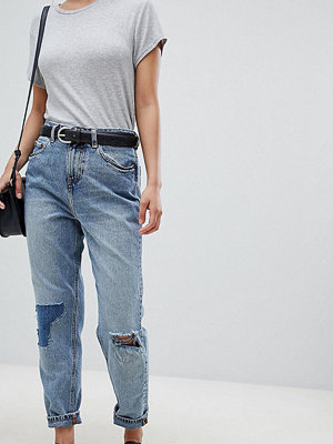 ASOS Petite ASOS DESIGN Petite Recycled Ritson rigid mom jeans in Divinity rich mid blue wash with rip & repair
