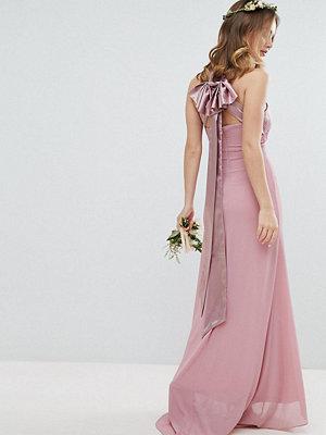 TFNC Petite Bow Back Pleated Maxi Bridesmaid Dress - Vintage rose