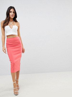 ASOS DESIGN high waist longerline pencil skirt - Coral