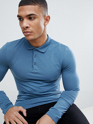 ASOS DESIGN long sleeve muscle fit jersey polo in blue - Hush grey