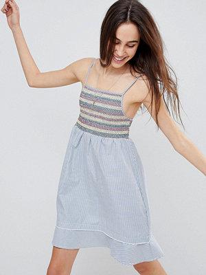 Brave Soul Sandra Cami Dress with Multi-colour Shirring - Blue/white