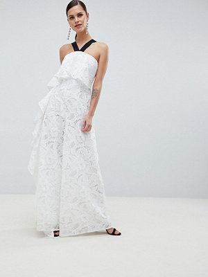 ASOS DESIGN Occasion Contrast Lace Jumpsuit With Waterfall Side