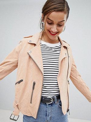 Selected Femme Suede Biker Jacket - Apricot ice