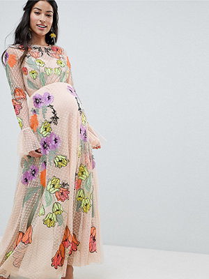 ASOS Edition Maternity embroidered floral maxi dress in dobby spot - Pink