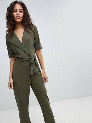 Asos Tall ASOS DESIGN Tall Wrap Jumpsuit With Self Belt - Olive
