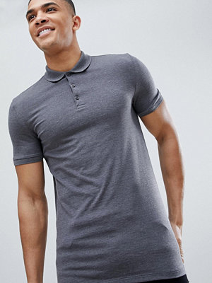 ASOS DESIGN Muscle Fit Jersey Polo In Grey - Charcoal marl