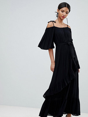 Y.a.s Cold Shoulder Maxi Dress With Ruffles