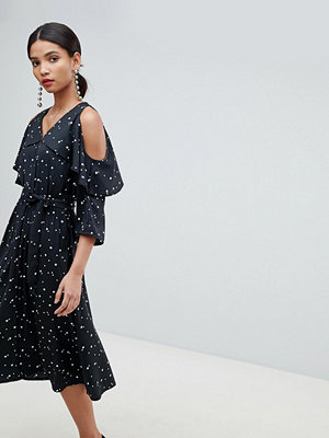 Y.a.s Spot Midi Dress With Cold Shoulder