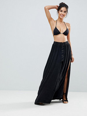 Surf Gypsy Lace Up Beach Maxi Skirt