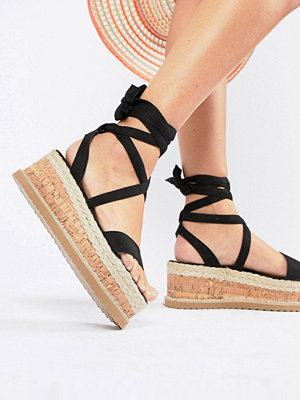 PrettyLittleThing Tie Up Espadrille Sandals