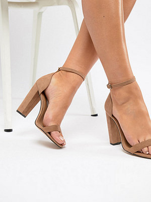 ASOS DESIGN Wide Fit Highball barely there heeled sandals - Nude
