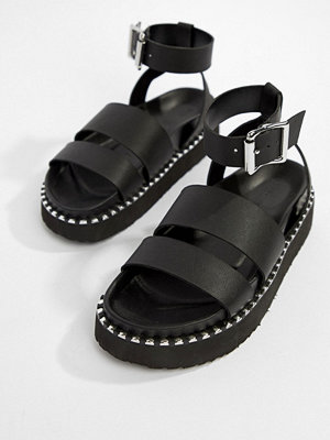 ASOS DESIGN Feebs leather chunky flat sandals