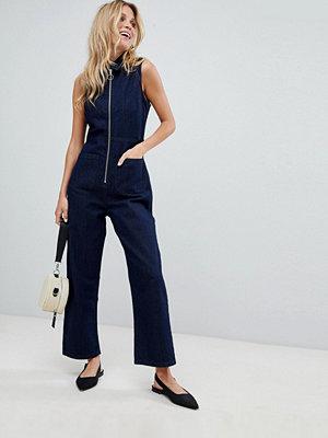 ASOS DESIGN denim zip through jumpsuit in indigo - Indigo
