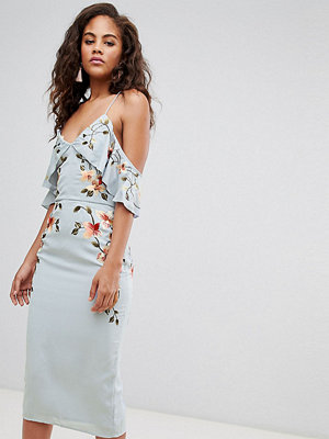 Asos Tall ASOS DESIGN Tall Embroidered Pencil Dress With Cold Shoulder - Pale blue