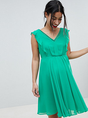 ASOS Maternity ASOS DESIGN Maternity Pleated Ruffle Mini With Cut Outs - Green