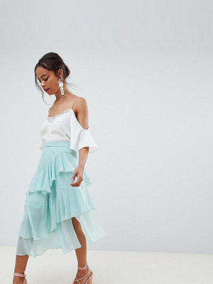 ASOS Petite ASOS DESIGN Petite floaty midi skirt - Dusty mint
