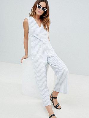 Fashion Union Randig jumpsuit för stranden Blå & vit