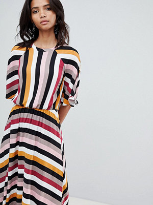 Y.a.s Stripe Midaxi Dress With Asymetric Hem