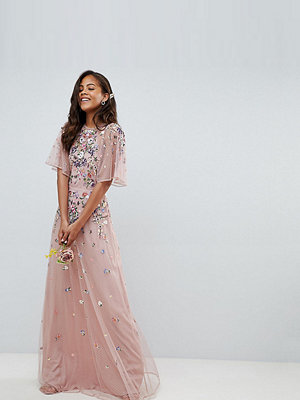 Asos Tall ASOS DESIGN Tall Bridesmaid floral embroidered dobby mesh flutter sleeve maxi dress - Nude