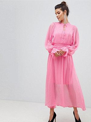 Y.a.s Tie Neck Chiffon Spot Maxi Dress