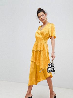 Y.a.s Satin Floral Wrap Dress