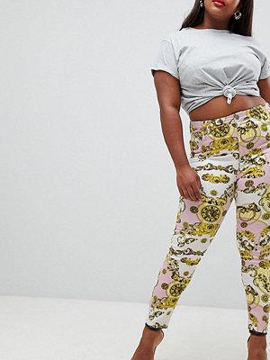 ASOS Curve Ridley Skinny jeans med hög midja och scarfmönster Scarfmönster