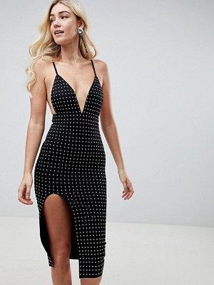 Club L Deep V Midi Dress With Side Split & All Over Diamante Embellishment