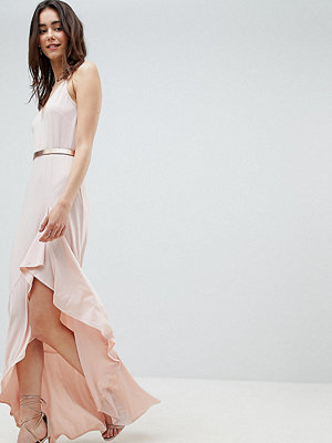 Asos Tall ASOS DESIGN Tall cami maxi dress with ruffle side split and gold belt - Nude