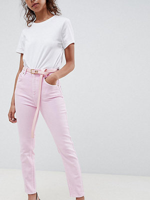 ASOS Petite ASOS DESIGN Petite Farleigh high waist mom jeans in washed pink with belt
