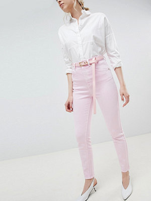 ASOS DESIGN Farleigh high waist mom jeans in washed pink with belt