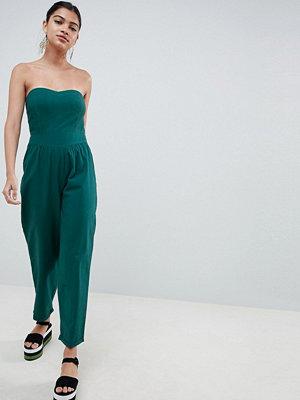 ASOS DESIGN bandeau jumpsuit in cotton with waist detail - Teal
