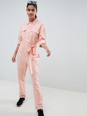 ASOS DESIGN washed cotton boilersuit - Washed pink